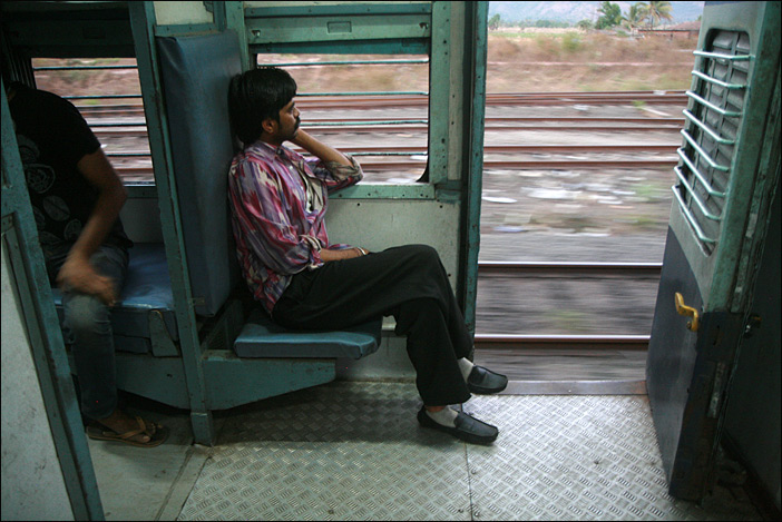 Passagier im Zug